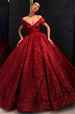 Sequins Off-the-Shoulder Lace Appliques Prom Dress UKes UK Ball Gown Sleeveless Evening Dress UKes UK_1