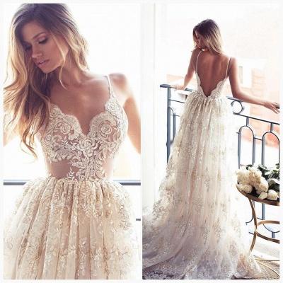 Lace Appliques Elegant V-Neck Prom Dress UKes UK Tiered Backless Sleeveless Evening Dress UKes UK_2