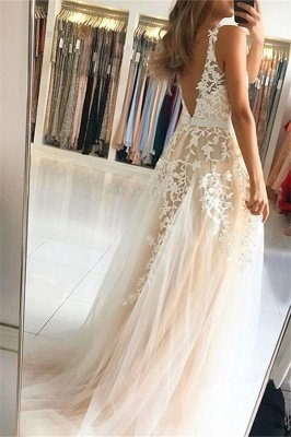 Lace Appliques Elegant V-Neck Sequins Prom Dress UKes UK Open Back Sleeveless Evening Dress UKes UK_2