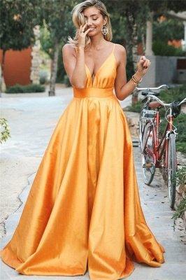 Simple Orange Spaghetti-Straps without Sleeve Alluring V-Neck A-Line Prom Dress UK UK_1