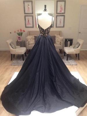 Black Lace Elegant V-Neck Sleeveless Prom Dress UKes UK Open Back Evening Dress UKes UK with Beads_7