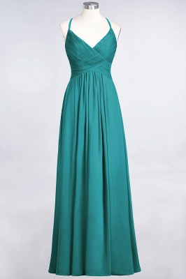 Sexy A-line Flowy Spaghetti-Straps Alluring V-neck Sleeveless Floor-Length Bridesmaid Dress UK UK with Ruffles_31