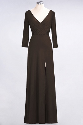 Sexy A-line Spandex Alluring V-neck Long-Sleeves Side-Slit Floor-Length Bridesmaid Dress UK UK with Ruffles_10
