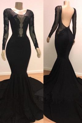 Speical Scoop with Sleeves Backless Appliques Tulle Elegant Mermaid Prom Dress UKes UK UK_2