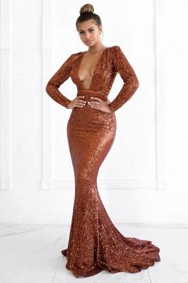 Elegant Hot Deep V-Neck Long Sleeves Elegant Mermaid Prom Dress UK UK_2