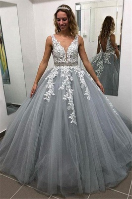 Elegant Crystal Apppliques Simple Ball Gown Prom Dresses   A-Line Sleeveless Backless Evening Dresses_1
