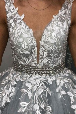 Elegant Crystal Apppliques Simple Ball Gown Prom Dresses   A-Line Sleeveless Backless Evening Dresses_3