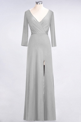Sexy A-line Spandex Alluring V-neck Long-Sleeves Side-Slit Floor-Length Bridesmaid Dress UK UK with Ruffles_26