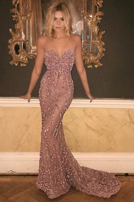 Gorgeous Sweetheart Prom Dress UK Long Mermaid With Beadings Sequins BA9506_2