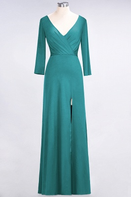 Sexy A-line Spandex Alluring V-neck Long-Sleeves Side-Slit Floor-Length Bridesmaid Dress UK UK with Ruffles_28