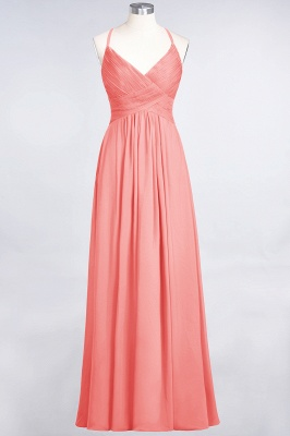 Sexy A-line Flowy Spaghetti-Straps Alluring V-neck Sleeveless Floor-Length Bridesmaid Dress UK UK with Ruffles_7