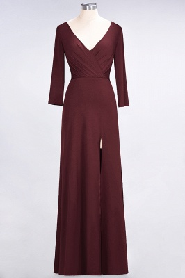 Sexy A-line Spandex Alluring V-neck Long-Sleeves Side-Slit Floor-Length Bridesmaid Dress UK UK with Ruffles_9