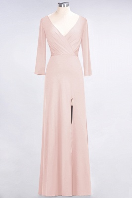 Sexy A-line Spandex Alluring V-neck Long-Sleeves Side-Slit Floor-Length Bridesmaid Dress UK UK with Ruffles_5