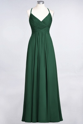 Sexy A-line Flowy Spaghetti-Straps Alluring V-neck Sleeveless Floor-Length Bridesmaid Dress UK UK with Ruffles_30