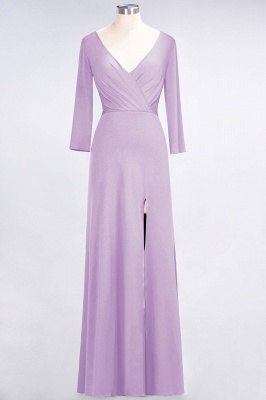 Sexy A-line Spandex Alluring V-neck Long-Sleeves Side-Slit Floor-Length Bridesmaid Dress UK UK with Ruffles_18