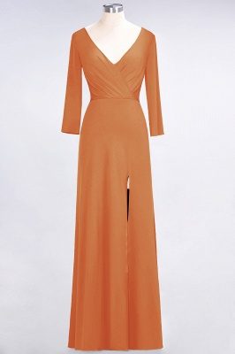 Sexy A-line Spandex Alluring V-neck Long-Sleeves Side-Slit Floor-Length Bridesmaid Dress UK UK with Ruffles_14