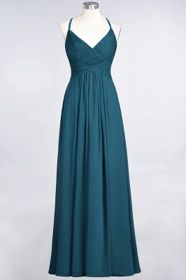 Sexy A-line Flowy Spaghetti-Straps Alluring V-neck Sleeveless Floor-Length Bridesmaid Dress UK UK with Ruffles_26