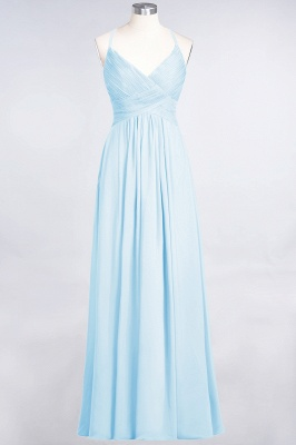 Sexy A-line Flowy Spaghetti-Straps Alluring V-neck Sleeveless Floor-Length Bridesmaid Dress UK UK with Ruffles_22