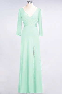 Sexy A-line Spandex Alluring V-neck Long-Sleeves Side-Slit Floor-Length Bridesmaid Dress UK UK with Ruffles_30