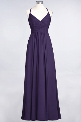 Sexy A-line Flowy Spaghetti-Straps Alluring V-neck Sleeveless Floor-Length Bridesmaid Dress UK UK with Ruffles_18