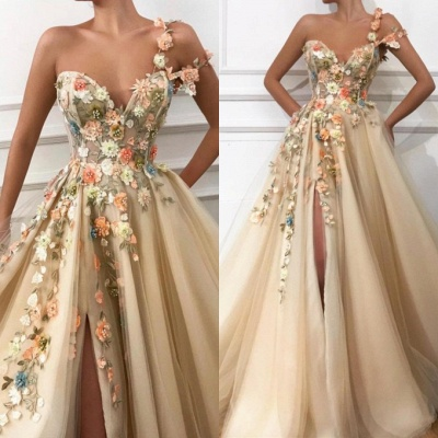 Sexy One Shoulder Flowers Side Slit Evening Dress UK_2