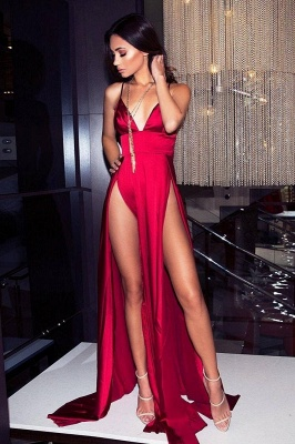 Elegant Hot V-Neck Spaghetti Straps A-Line Front Split Prom Dress UK UK_2