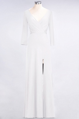 Sexy A-line Spandex Alluring V-neck Long-Sleeves Side-Slit Floor-Length Bridesmaid Dress UK UK with Ruffles_1