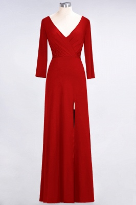 Sexy A-line Spandex Alluring V-neck Long-Sleeves Side-Slit Floor-Length Bridesmaid Dress UK UK with Ruffles_7