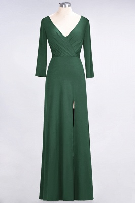 Sexy A-line Spandex Alluring V-neck Long-Sleeves Side-Slit Floor-Length Bridesmaid Dress UK UK with Ruffles_27