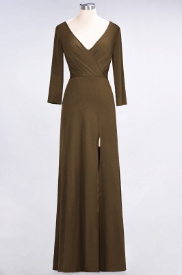 Sexy A-line Spandex Alluring V-neck Long-Sleeves Side-Slit Floor-Length Bridesmaid Dress UK UK with Ruffles_11