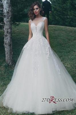 A-Line Tulle Sleeveless Appliques Elegant Wedding Dress_1