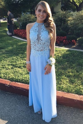 Lace Halter Flower Simple Prom Dresses | A-Line Sleeveless Evening Dresses_1