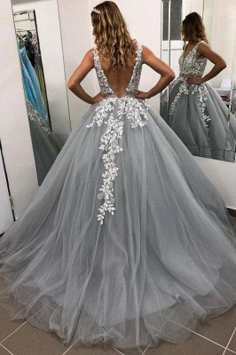 Elegant Crystal Apppliques Simple Ball Gown Prom Dresses   A-Line Sleeveless Backless Evening Dresses_2