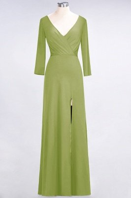 Sexy A-line Spandex Alluring V-neck Long-Sleeves Side-Slit Floor-Length Bridesmaid Dress UK UK with Ruffles_29