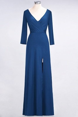 Sexy A-line Spandex Alluring V-neck Long-Sleeves Side-Slit Floor-Length Bridesmaid Dress UK UK with Ruffles_23