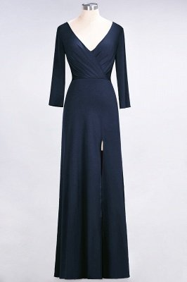 Sexy A-line Spandex Alluring V-neck Long-Sleeves Side-Slit Floor-Length Bridesmaid Dress UK UK with Ruffles_24