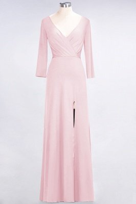 Sexy A-line Spandex Alluring V-neck Long-Sleeves Side-Slit Floor-Length Bridesmaid Dress UK UK with Ruffles_3