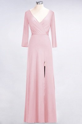 Sexy A-line Spandex Alluring V-neck Long-Sleeves Side-Slit Floor-Length Bridesmaid Dress UK UK with Ruffles_4
