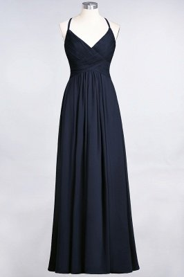 Sexy A-line Flowy Spaghetti-Straps Alluring V-neck Sleeveless Floor-Length Bridesmaid Dress UK UK with Ruffles_27