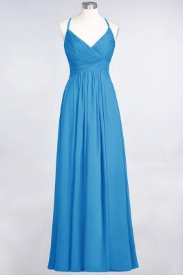 Sexy A-line Flowy Spaghetti-Straps Alluring V-neck Sleeveless Floor-Length Bridesmaid Dress UK UK with Ruffles_24
