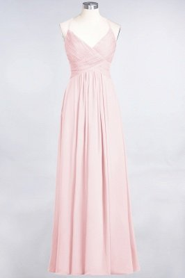Sexy A-line Flowy Spaghetti-Straps Alluring V-neck Sleeveless Floor-Length Bridesmaid Dress UK UK with Ruffles_3