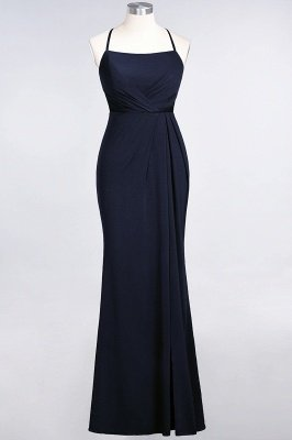 Elegant Mermaid spandex Lace Spaghetti-Straps Sleeveless Long Bridesmaid Dress UK with Ruffle_24