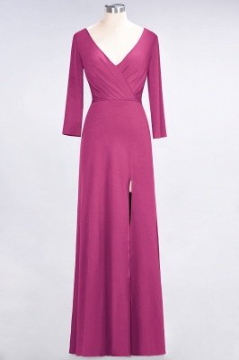 Sexy A-line Spandex Alluring V-neck Long-Sleeves Side-Slit Floor-Length Bridesmaid Dress UK UK with Ruffles_8