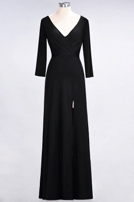 Sexy A-line Spandex Alluring V-neck Long-Sleeves Side-Slit Floor-Length Bridesmaid Dress UK UK with Ruffles_25