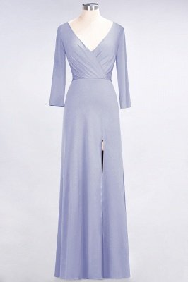 Sexy A-line Spandex Alluring V-neck Long-Sleeves Side-Slit Floor-Length Bridesmaid Dress UK UK with Ruffles_19