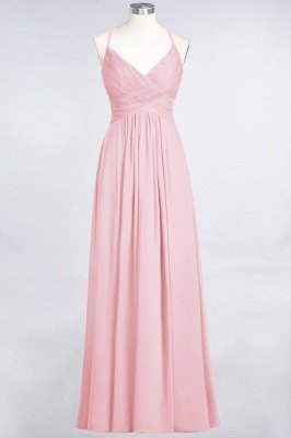 Sexy A-line Flowy Spaghetti-Straps Alluring V-neck Sleeveless Floor-Length Bridesmaid Dress UK UK with Ruffles_4