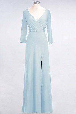 Sexy A-line Spandex Alluring V-neck Long-Sleeves Side-Slit Floor-Length Bridesmaid Dress UK UK with Ruffles_20
