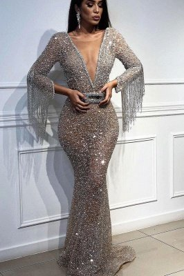 Elegant Hot Elegant Mermaid Tulle Sequins Deep V-Neck 3/4 Sleeves Sweep Train Prom Dress UK UK with Tassels_1