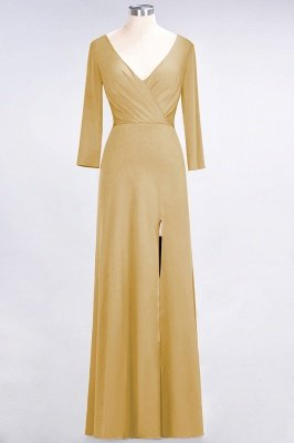 Sexy A-line Spandex Alluring V-neck Long-Sleeves Side-Slit Floor-Length Bridesmaid Dress UK UK with Ruffles_12