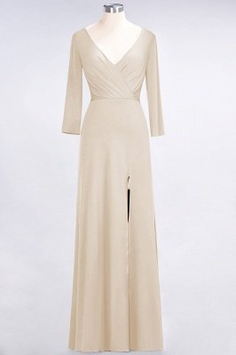 Sexy A-line Spandex Alluring V-neck Long-Sleeves Side-Slit Floor-Length Bridesmaid Dress UK UK with Ruffles_13